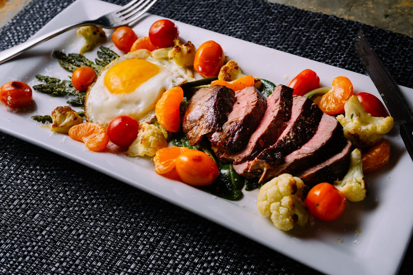 bison filet mignon with egg